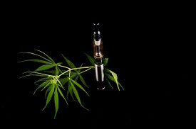 image of e-cig  - Modern Metal Electronic Cigarette E Cig Vaporizer and Cannabis - JPG