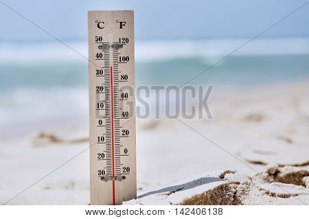 poster of A temperature scale on a beach shows high temperatures during a heat wave. Concept photo of heat wave , warm weather, global warming, high temperatures, climate change.