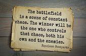 Постер, плакат: French emperor great general Napoleon Bonaparte 1769 1821 quote The battlefield is a scene of co