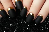 Постер, плакат: Black Matte Nail Polish Manicured Nail With Black Matte Nail Po