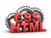 html, css coding concept on white