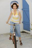 Model on Vintage Bicycle