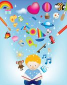 vector character illustration of a child reading a magic book exploding with images