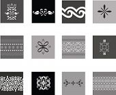 Illustration of black and white intricate traditional patterns