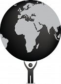 eco illustration in black and white of figure holding planet earth
