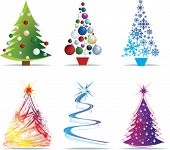 christmas tree modern illustrations in a loose abstract style