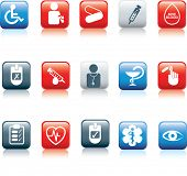 medical and diabetes and hospital icon and web buttons