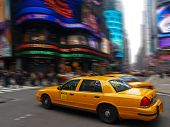Taxi In Times Square In New York City