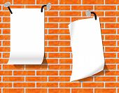 Sheets Of Paper On A Brick Wall.