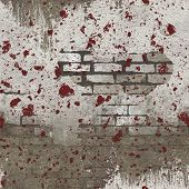 White Red Splattered Seamless Brick Wall Pattern