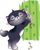 Funny card vith bad-mannered kitten