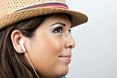 Woman Wearing Earbud Headphones