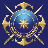 image of crossed swords  - NAVY style badge with anchors and cross hangers - JPG