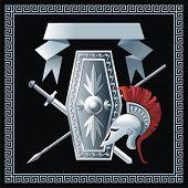 Shield, sword, helmet and spear