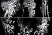 Set Of Smoke On Black Background