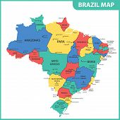 The Detailed Map Of The Brazil With Regions Or States And Cities, Capitals poster