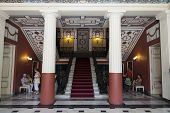 ACHILLION, GREECE-15 SEPTEMBER 2011:Main entrance stairs in Achillion palace  on  september 15, 2011