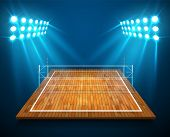 An Illustration Of Hardwood Perspective Vollyball Field Court, Net With Bright Stadium Lights Shinin poster