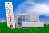 Air Conditioning And Thermometer On Grass. 3d Rendering. poster