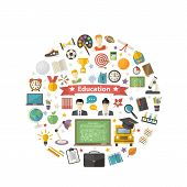 Education Icon Set In Circle In Flat Style Vector Illustration Isolated On A White Background.school poster
