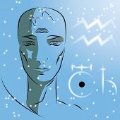 Постер, плакат: Sign Of The Zodiac Aquarius Girl Is A Fortuneteller With Third Eye Constellation Sign Of Zodiac A