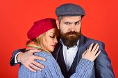 Couple. Romantic Couple In Warm Clothes. Handsome Bearded Man Embracing Girlfriend. Concept Of Love. poster