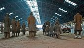 stock photo of exhumed  - Terracotta soldiers in a hall - JPG