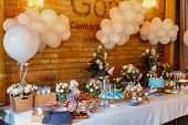 Candy Bar. Delicious Sweet Buffet With Cupcakes. Sweet Holiday Buffet With Cupcakes And Other Desser poster