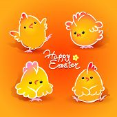 Easter Card With Four Chickens (roosters And Hens) On The Orange Background. Vector Illustration.