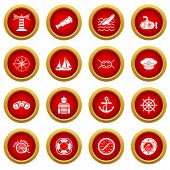 Nautical Icons Set. Simple Illustration Of 16 Nautical Vector Icons For Web poster