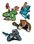 Mascot Icon Illustration Set Of  Lacrosse And Baseball Sporting Sports Team Mascots Like  A Stag Dee poster