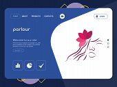 Quality One Page Parlour Website Template Vector Eps, Modern Web Design With Flat Ui Elements And La poster