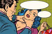 Husband Scolds His Wife, Dangerous Behavior. Pop Art Retro Vector Illustration Kitsch Drawing poster