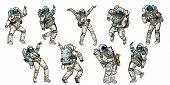 Set Of Dancing Astronauts Collection. Comic Book Cartoon Pop Art Retro Vector Illustration Vintage K poster