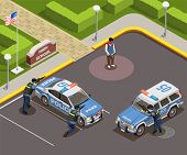 High School Isometric People Composition Of Outdoor Police Cordon With Cars Armed Policemen And Kill poster