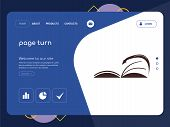 Quality One Page Page Turn Website Template Vector Eps, Modern Web Design With Flat Ui Elements And  poster