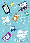 Conjunto de ícones de dispositivos de tecnologia ilustração