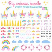 Vector Collection - Big Unicorn Bundle. Create Your Own Unicorn. Unicorn Constructor - Horhs, Eyelas poster