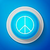 White Peace Sign Isolated On Blue Background. Hippie Symbol Of Peace. Circle Blue Button With White  poster