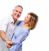 picture of elderly couple  - Happy senior couple in love dancing - JPG