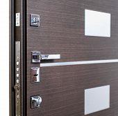 Open Armored Door. Door Lock, Dark Brown Door Closeup. Modern Interior Design, Door Handle. New Hous poster