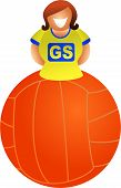 stock photo of netball  - woman netball player sitting ontop of giant ball  - JPG