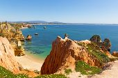 Spectacular Views And Secluded Small Beaches On Algarve Coastline In Portugal. Scenic Cliffs And Gro poster