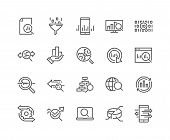 Simple Set Of Data Analysis Related Vector Line Icons. Contains Such Icons As Charts, Graphs, Traffi poster