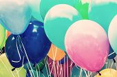 Balloons Party. Funny Symbolic Objects. Leisure Activity. Colorful Balloons Background. Vibrant Colo poster