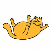 Cute Fat Cat Wants To Play With It. Vector Illustration. Funny Cartoon Pet Character. poster