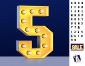 Numeral 5 Five From Alphabet. Glowing Digit 5. Bulb Type 5. 3d Illuminated Light Bulb Symbol Number  poster
