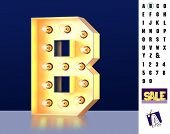Letter B From Alphabet. Glowing Letter B. Bulb Type B. 3d Illuminated Light Bulb Symbol Letter B. Re poster