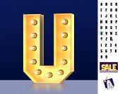 Letter U From Alphabet. Glowing Letter U. Bulb Type U. 3d Illuminated Light Bulb Symbol Letter U. Re poster