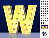 Letter W From Alphabet. Glowing Letter W. Bulb Type W. 3d Illuminated Light Bulb Symbol Letter W. Re poster